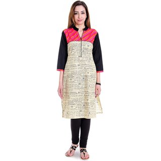 Halowishes Jaipuri Designer Fancy Cream Fine Cotton Kurti  - 101