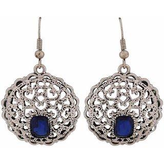 Maayra Class Blue Silver Filigree Party Dangler Earrings