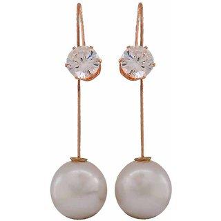 Maayra Fabulous White Gold Pearl College Drop Earrings