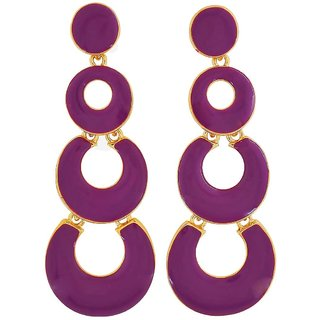 Maayra Fantastic Purple Designer Casualwear Drop Earrings
