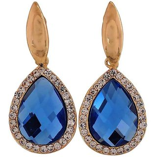 Maayra Sizzling Blue Kundan Get-Together Drop Earrings