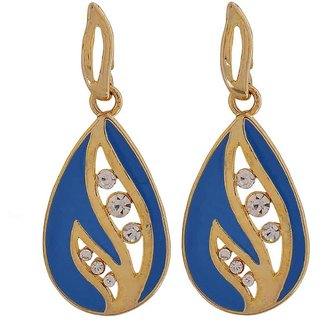 Maayra Artistic Blue Stone Crystals Party Drop Earrings