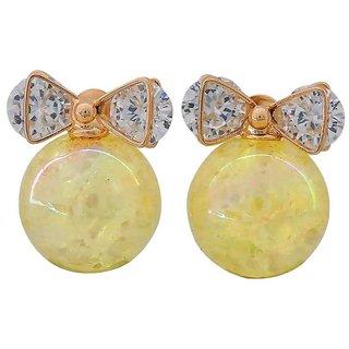 Maayra Sexy Yellow Bronze Stone Crystals Casualwear Stud Earrings