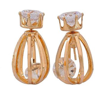 Maayra Cute Gold Stone Crystals Get-Together Stud Earrings