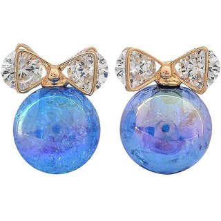 Maayra Class Blue Stone Crystals Casualwear Drop Earrings