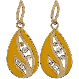 Maayra Bright Yellow Stone Crystals Get-Together Drop Earrings