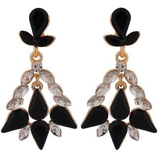 Maayra Special Black Kundan College Drop Earrings