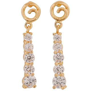 Maayra Sizzling Gold Stone Crystals Party Drop Earrings