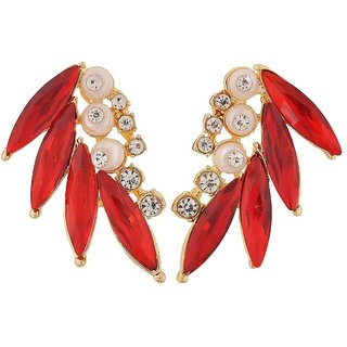 Maayra Plush Red White Designer Party Drop Earrings