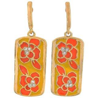 Maayra Cute Orange Yellow Designer Party Drop Earrings
