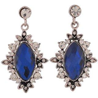 Maayra Lovable Blue Kundan College Drop Earrings