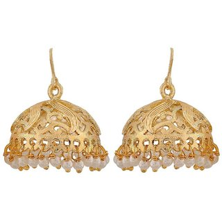 Maayra Sober White Gold Pearl Reception Jhumki Earrings