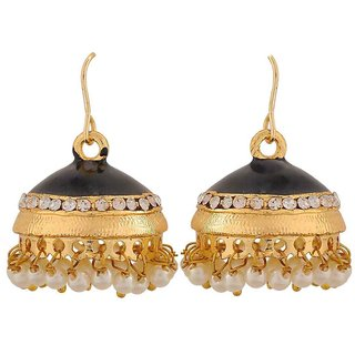 Maayra Class Black White Pearl Festival Jhumki Earrings