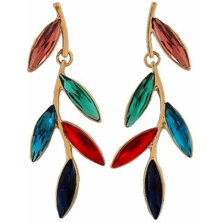 Maayra Great Multicolour Stone Crystals Party Drop Earrings