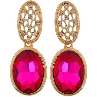 Maayra Exquisite Pink Gold Stone Crystals Party Drop Earrings
