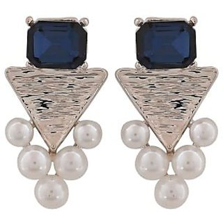 Maayra Beautiful Blue White Pearl Party Drop Earrings