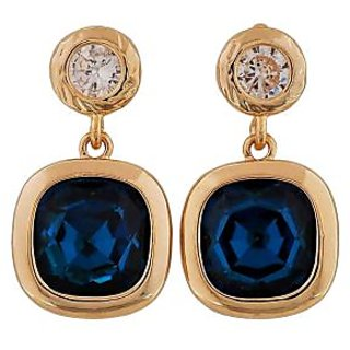 Maayra Trendy Blue Gold Stone Crystals Casualwear Drop Earrings
