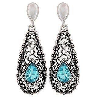 Maayra Cool Blue Black Kundan Cocktail Drop Earrings