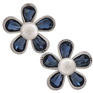 Maayra Hot Blue White Indian Ethnic Party Drop Earrings