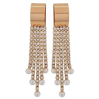 Maayra Charming Bronze White Stone Crystals Casualwear Drop Earrings