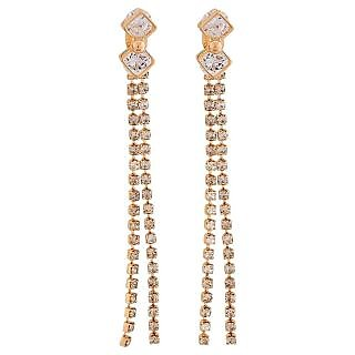 Maayra Plush Gold Stone Crystals Party Drop Earrings