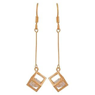 Maayra Cute Gold Stone Crystals Party Dangler Earrings