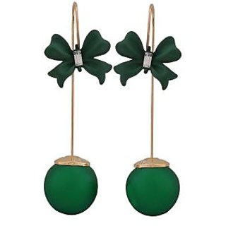 Maayra Sexy Green Designer Party Drop Earrings