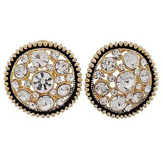 Maayra Unique Black Gold Stone Crystals Get-Together Clip On Earrings