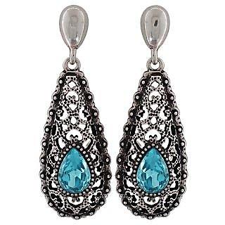 Maayra Fantastic Blue Silver Kundan College Drop Earrings