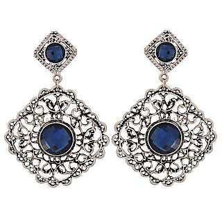 Maayra Fabulous Blue Silver Stone Crystals Party Drop Earrings
