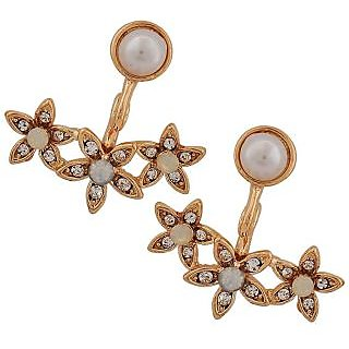 Maayra Classic White Gold Pearl College Drop Earrings