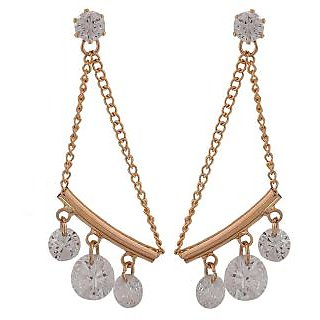 Maayra Artistic Bronze Stone Crystals Cocktail Tassel Earrings