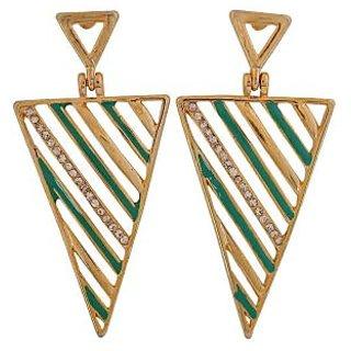 Maayra Suave Green Gold Designer Casualwear Drop Earrings