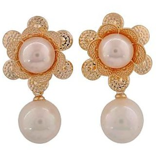 Maayra Sexy White Gold Pearl Cocktail Drop Earrings