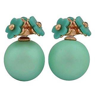 Maayra Chic Green Designer College Stud Earrings