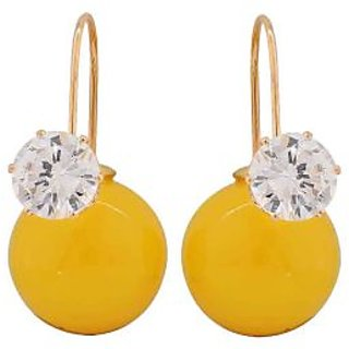 Maayra Simple Yellow Gold Designer Cocktail Drop Earrings