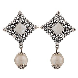 Maayra Fabulous White Silver Pearl Party Drop Earrings