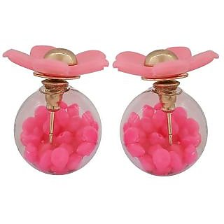Maayra Stunning Pink Designer College Glass Stud Earring