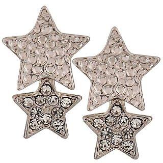 Maayra Elegant Silver Stone Crystals Casualwear Drop Earrings