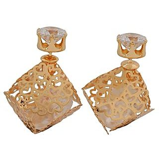 Maayra Classic Gold Designer College Stud Earrings