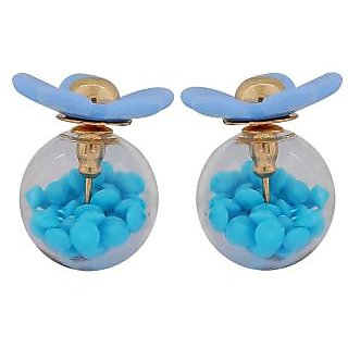 Maayra Stylish Blue Designer Cocktail Glass Stud Earring