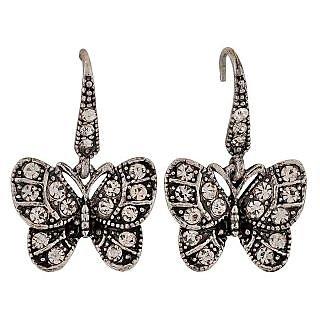 Maayra Beautiful Silver Stone Crystals Casualwear Dangler Earrings