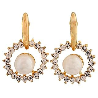 Maayra Bright White Gold Pearl Casualwear Drop Earrings