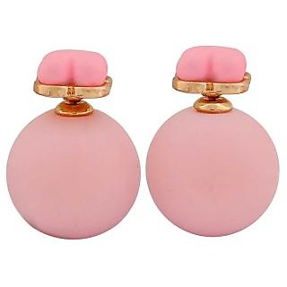 Maayra Dashing Pink Pearl Get-Together Stud Earrings