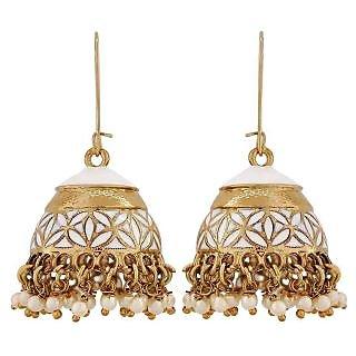 Maayra Stylish White Gold Pearl Reception Jhumki Earrings