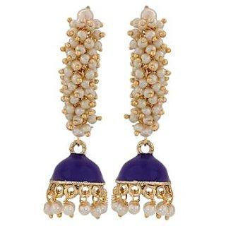 Maayra Lovely Blue White Pearl Reception Jhumki Earrings