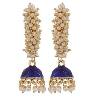Maayra Beautiful Blue White Pearl Party Jhumki Earrings