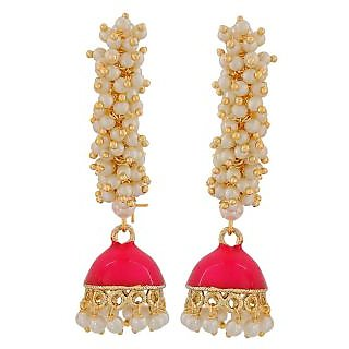 Maayra Exquisite Pink White Pearl Festival Jhumki Earrings