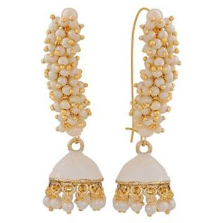 Maayra Trendy White Pearl Sangeet Jhumki Earrings