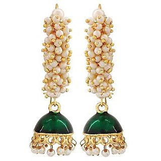 Maayra Suave Green White Pearl Festival Jhumki Earrings